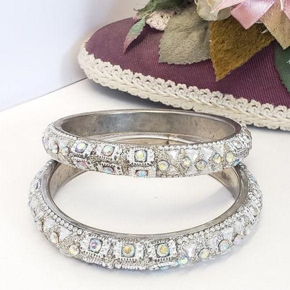 2 Vintage Crystal Glitter Bangle Bracelets, Unique