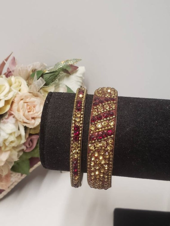Gorgeous Vintage Siam Red & Gold Crystal Bangle Br