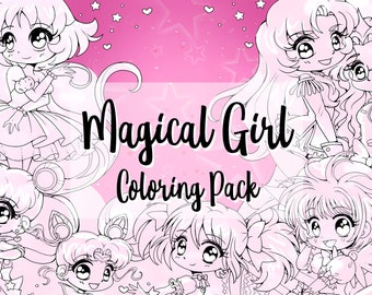 Magical Girl Digital Coloring Pack by YamPuff - Sailor Moon - Revolutionary Girl Utena - Princess Tutu - Madoka Magica - Cardcaptor Sakura