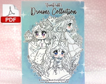 YamPuff's Dreams Collection - PDF Coloring Book - Instant Digital Download - A Coloring Book Compilation with Over 90 Illustrations