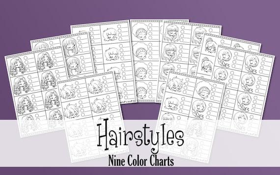 Coiffures 9 Graphiques Imprimables Couleur Copics Promarkers Coloriage Pratique