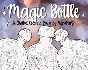 Magic Bottle - Digital Coloring Pack by YamPuff - 7 Linearts - Instant Download