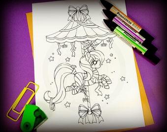 Halloween Carousel - Mummy Pony - Clip Art - Digital Stamp