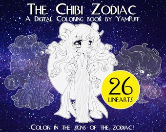 The Chibi Zodiac by YamPuff - 26 Linearts  - Digital Coloring Book - Instant Download