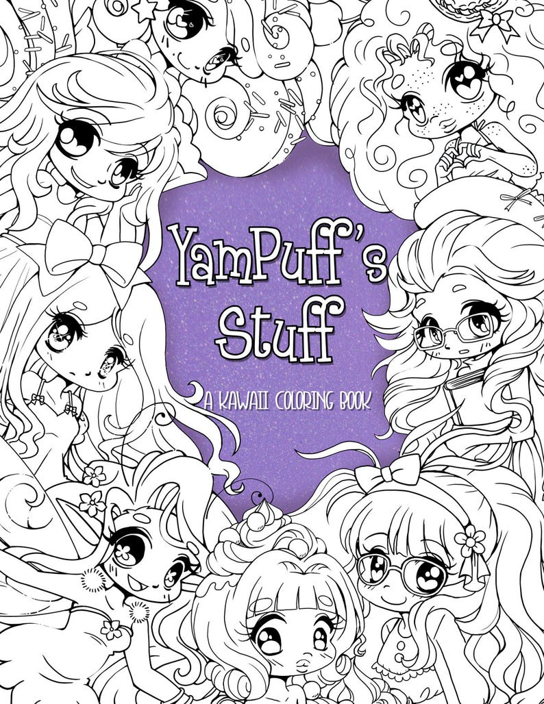 NEW YamPuff es Stuff-A Digital Kawaii Coloring eBook of Chibis | Etsy