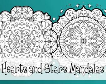 Mandalas - Hearts and Stars - Instant digital download, 2 files