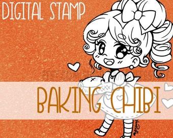 Little Baking Chibi - Clip Art - Digital Stamp - Instant Download
