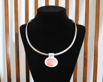 Vintage 925 Pink Coral Necklace with Silver Art 925 Choker
