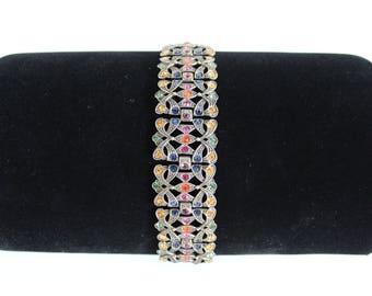 Vintage Mid-Century, 40's 50's, Multi Colored Rhinestone, Boho, Art Deco, Bracelet