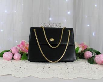 Vintage Mid-Century Black Leather Evening Bag By Coblentz;Leather Handbag,Vintage Handbags,New York Hand Bag,Victorian Purse,Dinner Purse