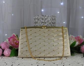 Vintage Mid-Century Gold Evening Bag,Vintage Handbags,Antique Purse,Victorian Purse,Clutches,Metallic Handbag,Gold Foiled Purse,Dinner Purse