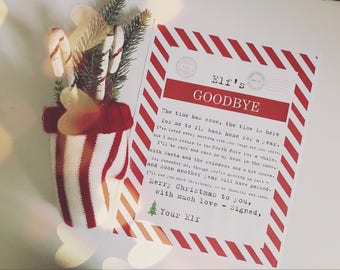 Christmas Elf Goodbye (Traditional Rules) End of Stay Printable - Vintage Typewriter Style - INSTANT Downloadable Printable PDF!