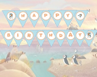 Puffin Rock Oona Baba Happy Birthday Party or Photo Prop Banner Printable - Blue - INSTANT Downloadable Printable PDF!