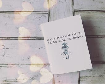 """Printable Harry Potter """"What a beautiful place, to be with friends."""" Dobby Quote Digital Download foldable greeting card"""