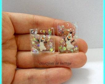 Olaf miniatura, olaf portachiavi, olaf resina, olaf pendants, olaf inglobato nella resina