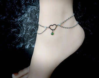 Sexy Stainless Steel Heart, Pearls and Birthstone Anklet / Bracelet - Custom Body Jewelry Discreet Day Collar BDSM Kink Fetish Owned