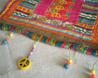 Peace sign yarn bombed burlap wall hanging, prayer flags, wall decoration, peace sign yarn and burlap flag, peace sign wall decor flag