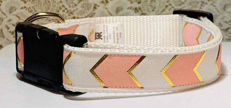 Chevron  Pink Dog Collar image 0