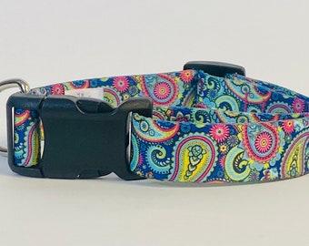 Bright Paisley Dog Collar, Leash &/OR Keychain