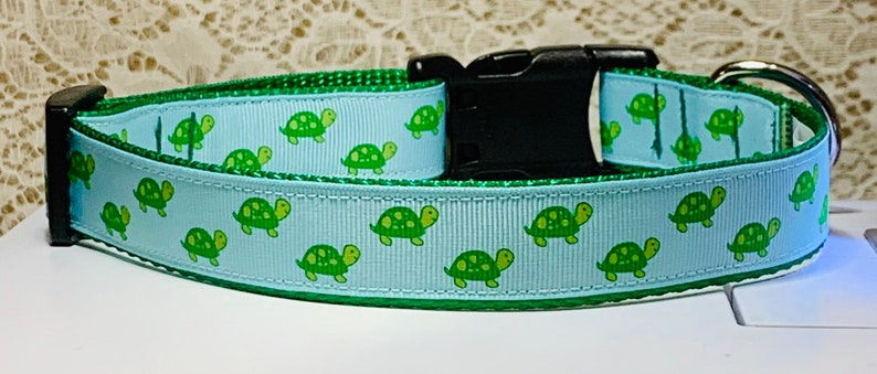Turtle  Blue/Green Dog Collar image 0