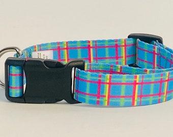 Blue Plaid Dog Collar, Leash &/OR Keychain