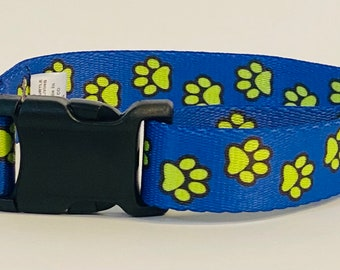 Blue and Yellow Busy Paws Dog Collar &/OR Leash