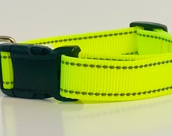 REFLECTIVE Neon Yellow Dog Collar, Leash &/OR Keychain