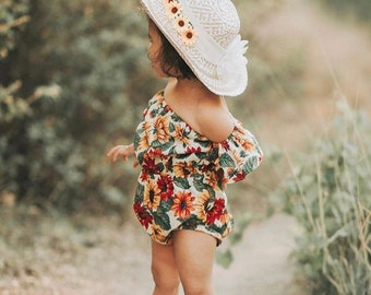 Baby Girl, Baby girl clothes, baby girl romper, Boho baby, off shoulder romper, baby boho romper, , Sitter Photography Outfit, Baby Gift