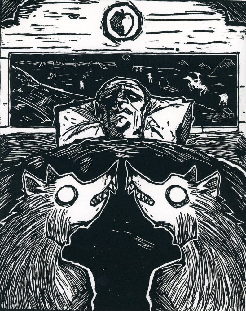 Linocut Print Printmaking Old Man Flanked by Wolves Surreal I Took One Apple to the Grave 9x11 Inches