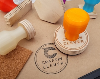 Personalised Rubber Ink Stamp, Co Logo Stamp, Make Your Own Stamp, Custom Rubber Stamp, Laser Engraved Stamp, Colored Handles.