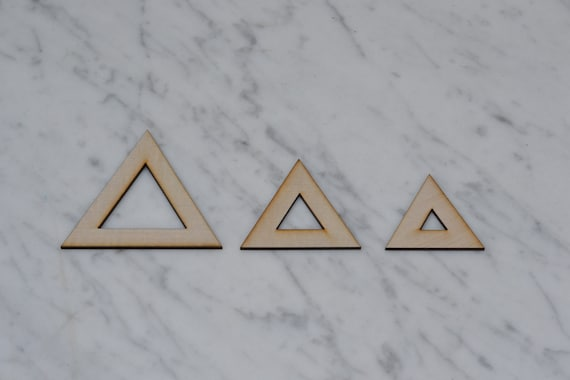 Wood Triangle shapes Laser Cut MDF size options