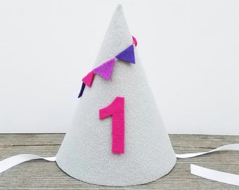 Girl's first birthday hat, first birthday bunting, pink and purple first birthday hat