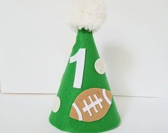 Football first birthday hat, boy's first birthday hat, sports birthday hat