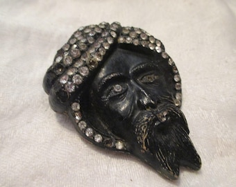 Antique Large Turban Leather Rhinestone Pin