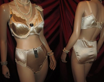 16bca0c9fb4ef satin panties & Bra set 40/usa 18/au D cup NOS