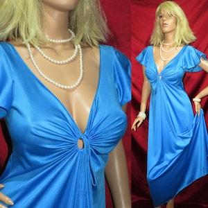 Vintage Satiny Lux Rich Blue Negligee