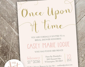 ba18918a08c Once Upon a Time - Bridal Shower Invitation - Custom Digital Print