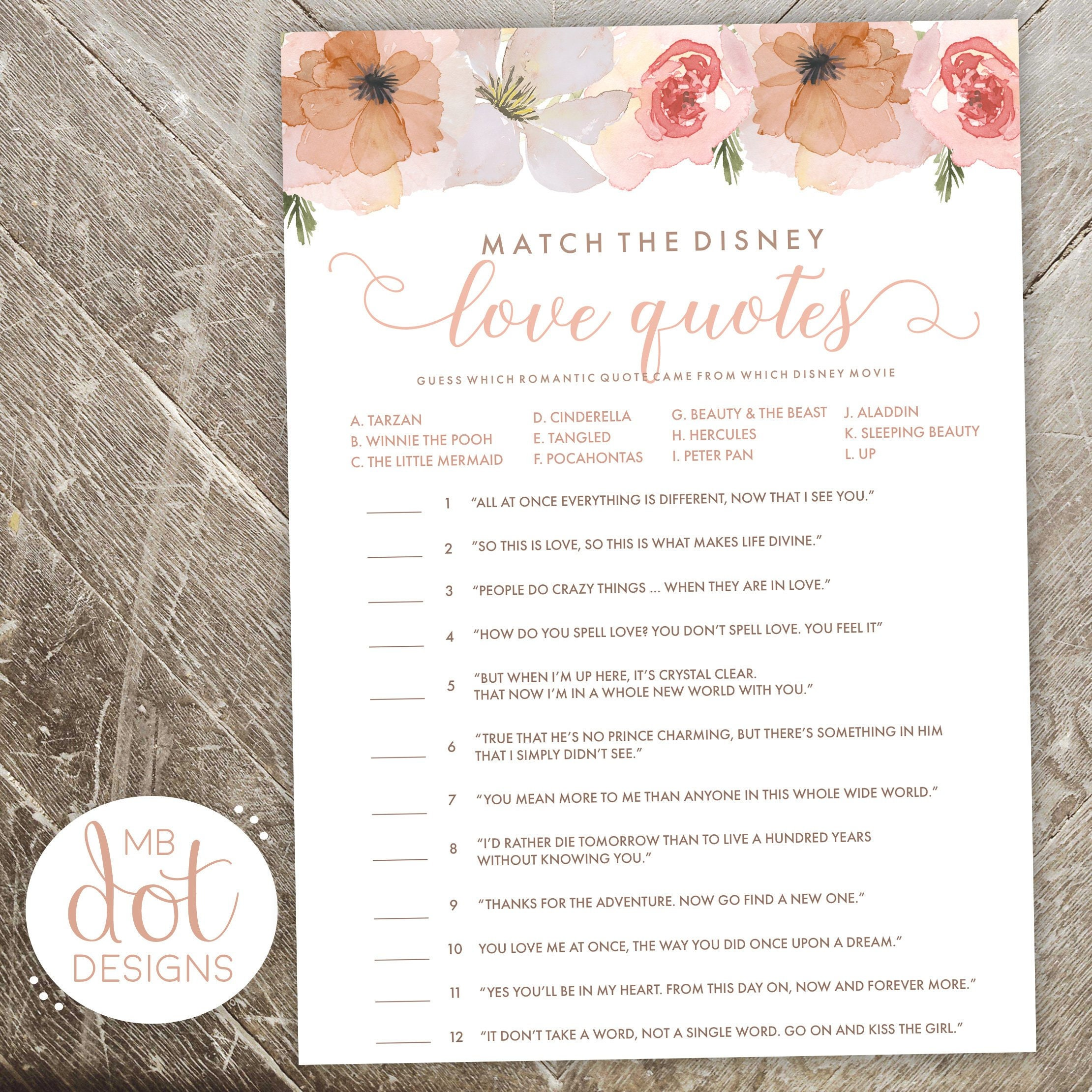 Match The Love Quotes Disney Quote Game Bridal Shower Etsy