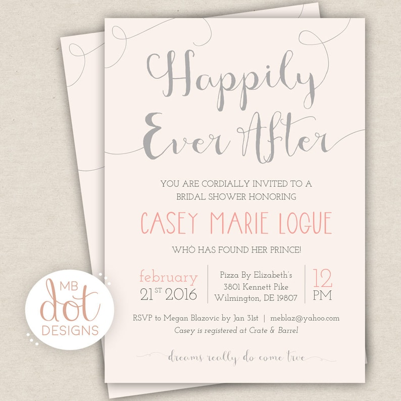 da0cae3fcb8 Happily Ever After Bridal Shower Invitation Silver   Pink