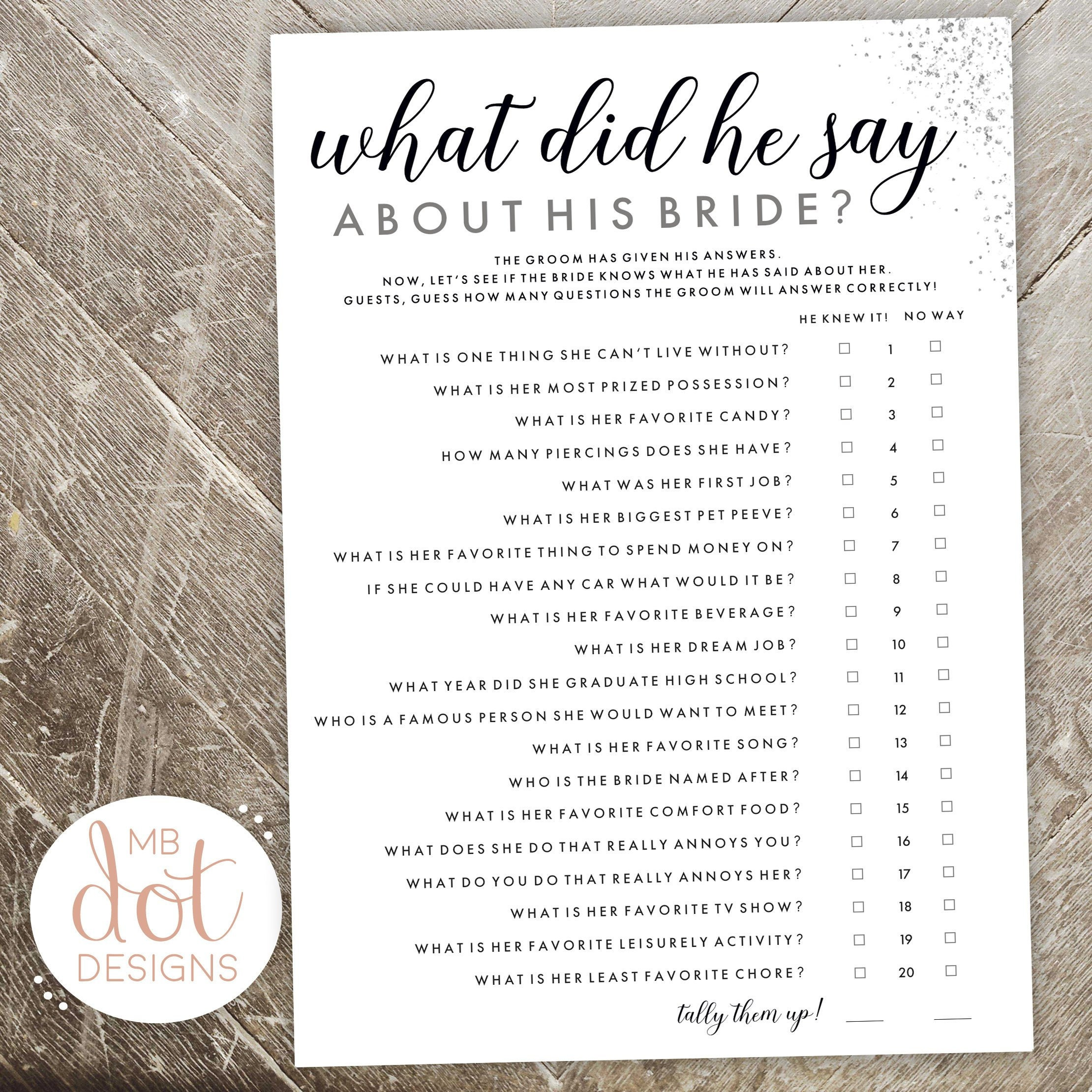 What Did He Say About His Bride Bride Or Groom Printable Etsy