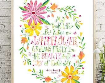 Wildflower Wreath, Printable Nursery Decor, Wildflower Quote, Girl's Room Print - Instant Download Wall Art | Nursery Wall Decor DIY