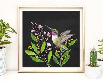 Printable Art Boho, Gallery Wall Decor, Boho Wall Art, Boho Print, Boho Decor, Hummingbird Art Print, Rustic Decor, Rustic Printable