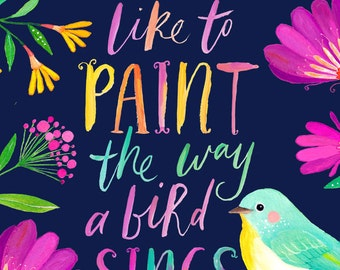 Bird Quote Printable Art Studio or Craft Room Decor | Motivational Quote | Inspirational Quote | Workspace Wall Art | Floral Quote