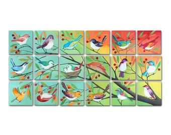 Printable Art - Gallery Wall Art Prints | Bird Paintings | 18 Square Printable Bird Paintings | Modern Art Gallery Wall | Set of Art Prints
