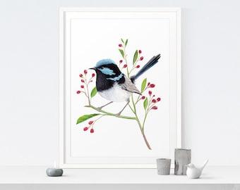 Bird Art Printable Painting | Blue Wren Print - Instant Download. Bird Decor, Bird Artwork, Bird Art, Nature, Rustic Modern Home Decor