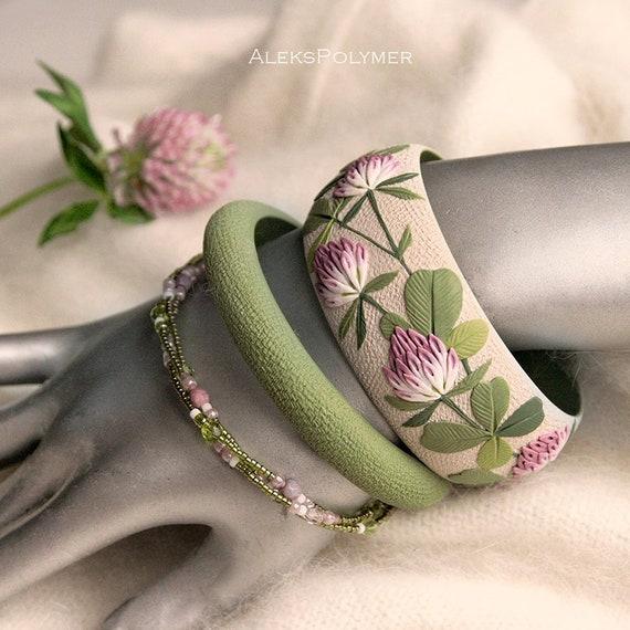 Green Floral Bangle