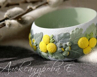Floral bangle bracelet - Flower bangle bracelet - Polymer clay bangle bracelet - Blue yellow green bangle bracelet - Chunky bracelet