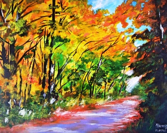 Original painting on oil - Path in the forest 61 x 85 cm (24 x 33.4 in)