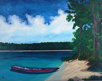 Original painting on oil - Boat on the bank 61 x 85 cm (24 x 33.4 in)