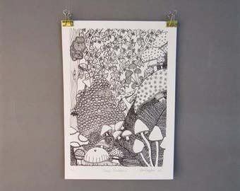 Magic Mushroom, Limited Edition, Mushroom illustration, Botanical Art Print, Wild Berries, Mushroom art, Woodland Nursery Art, Forest Print.